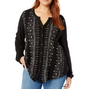 Lucky Brand NEW Plus 3X Polka Dot Boho Top Shirt